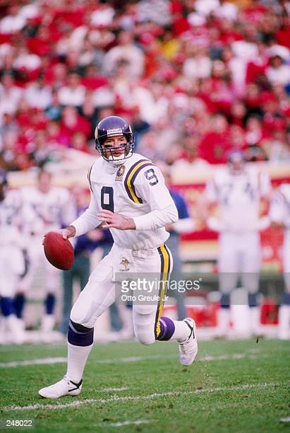 Quarterback Tommy Kramer of the Minnesota Vikings scrambles with the ball during a game against the San Francisco 49ers at Candlestick Park in San...