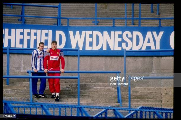Tony Meola and John Harkes of the USA Soccer team stand at Hillsborough in Sheffield during the Sheffield Wednesday Trial. Mandatory Credit: Ben...