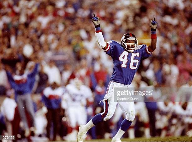 Defensive back Rogger Brown of the New York Giants celebrates during Super Bowl XXV against the Buffalo Bills at Tampa Stadium in Tampa Florida The...