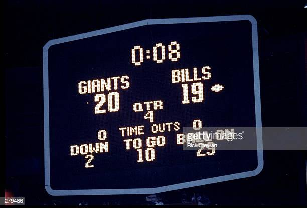 General view of the scoreboard at Super Bowl XXV between the Buffalo Bills and the New York Giants at Tampa Stadium in Tampa Florida The Giants won...