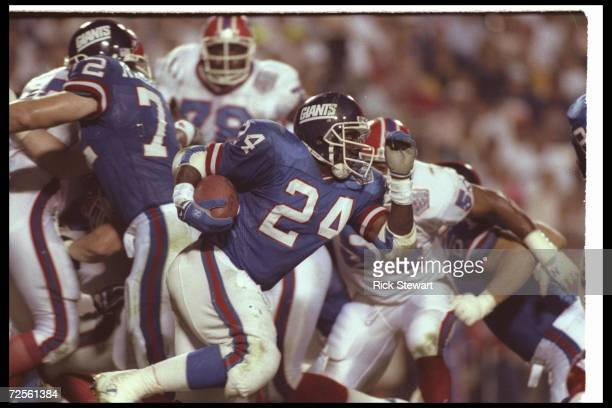 Running back Ottis Anderson of the New York Giants carries the ball during Super Bowl XXV against the Buffalo Bills at Tampa Stadium in Tampa Florida...