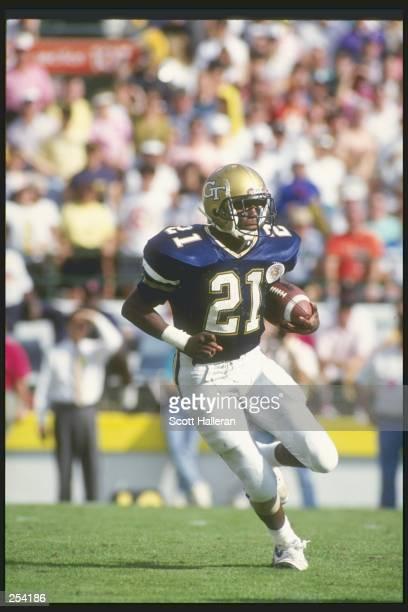 Wide receiver Kevin Tisdel of the Georgia Tech Yellow Jackets runs down the field during a game against the Nebraska Cornhuskers at the Citrus Bowl...