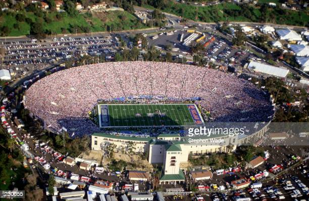 View from above the Rose Bowl during the Dallas Cowboys versus Buffalo Bills Super Bowl XXVII in Pasadena, California.