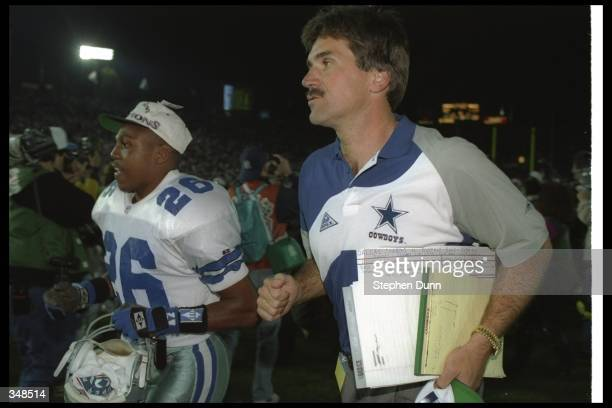 Defensive coordinator Dave Wannstedt of the Dallas Cowboys celebrates after Super Bowl XXVII against the Buffalo Bills at the Rose Bowl in Pasadena,...