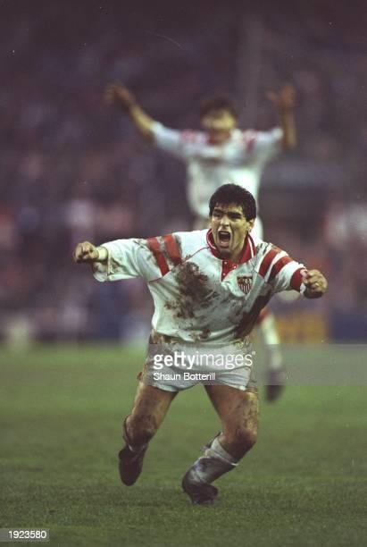 Diego Maradona of Seville celebrates during a match. \ Mandatory Credit: Shaun Botterill/Allsport