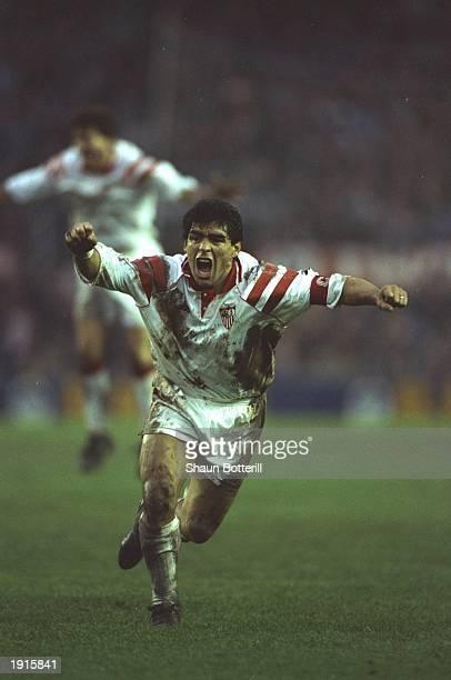 Diego Maradona of Seville in action during a match. \ Mandatory Credit: Shaun Botterill/Allsport