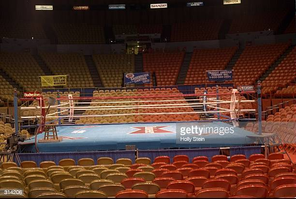 General view of the boxing ring in the Great Western Forum in Inglewood, California.