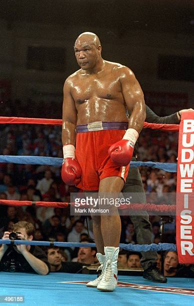 George Foreman looks on from a corner during the fight against Pierre Coetzer during in Reno Mandatory Credit Marc Morrison /Allsport