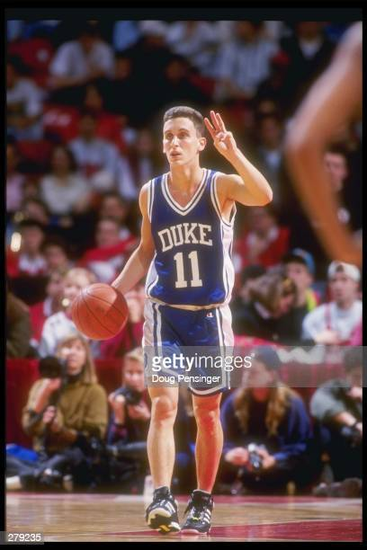 Guard Bobby Hurley of the Duke Blue Devils moves the ball during a game against the Maryland Terrapins. Mandatory Credit: Doug Pensinger /Allsport