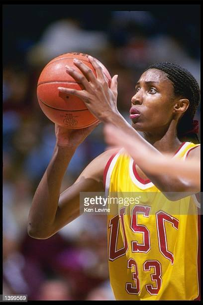 Lisa Leslie of the Southern California Trojans stands at the foul line during a game against the UCLA Bruins Southern California won the game 7360...
