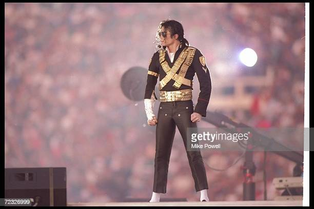 Singer Michael Jackson performs during halftime at Super Bowl XXVII between the Dallas Cowboys and the Buffalo Bills at the Rose Bowl in Pasadena...