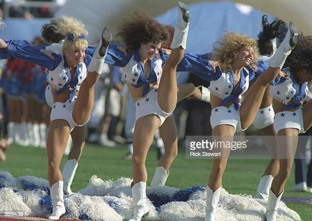 The Dallas Cowboys cheerleaders perform during Super Bowl XXVII against the Buffalo Bills at the Rose Bowl in Pasadena California The Cowboys won the...