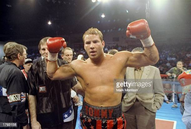 Tommy Morrison celebrates after a bout with Carl Williams in Reno Nevada Mandatory Credit Mark Morrison /Allsport
