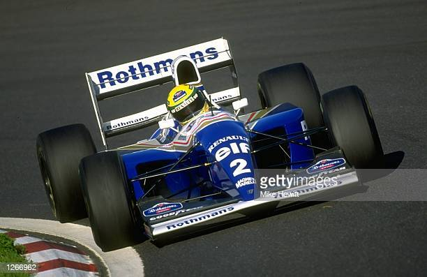 Ayrton Senna of Brazil cuts close to a corner in his Williams Renault during the Formula One testing at the Estoril circuit in Portugal Mandatory...