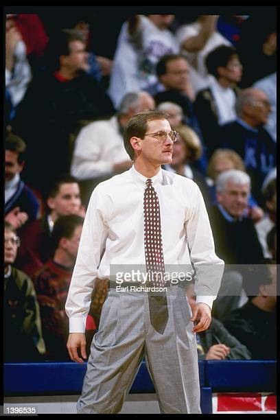 Coach Dana Altman of the Kansas State Wildcats watches his players during a game against the Kansas Jayhawks at the Allen Fieldhouse in Lawrence...