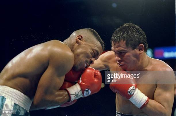 Frankie Randall trades blows with his opponent Julio Cesar Chavez during their fight in Las Vegas Nevada Randall won the bout in 12 rounds Mandatory...