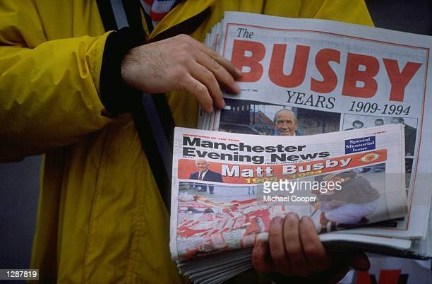 General view of the Manchester Evening News'' front page running a tribute to Sir Matt Busby Mandatory Credit Mike Cooper/Allsport