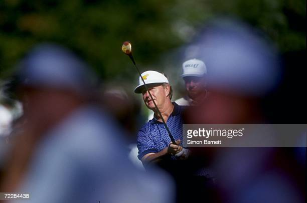 Jack Nicklaus of the USA hits a tee shot during the 1994 Mercedes Championship at the La Costa Spa and Resort in Carlsbad, California. Mandatory...