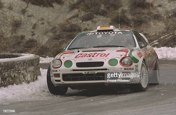 Armin Schwartz and Klaus Wicha of Germany in action in their Toyota Celica during the Monte Carlo Rally in Monaco. Schwartz and Wicha retired from...
