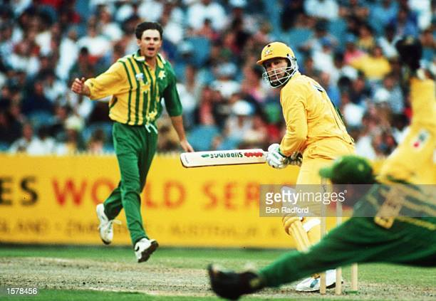 Batsman Mark Taylor of Australia edges the ball past the wicketkeeper of Australia A during the second final of the Benson and Hedges Cricket World...