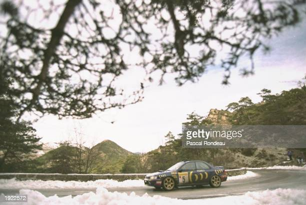Carlos Sainz and Luis Moya of Spain in action in their Subaru Impreza during the Monte Carlo Rally in Monaco Sainz and Moya finished in first place...