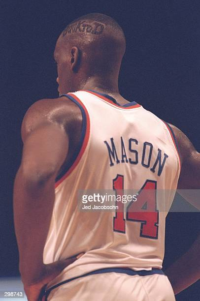 Forward Anthony Mason of the New York Knicks looks on during a game against the Los Angeles Clippers at Madison Square Garden in New York City, New...