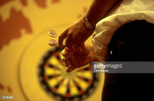 General view of a player standing at the oche during the Embassy World Darts Championship at the Lakeside Country Club in Frimley Green England...
