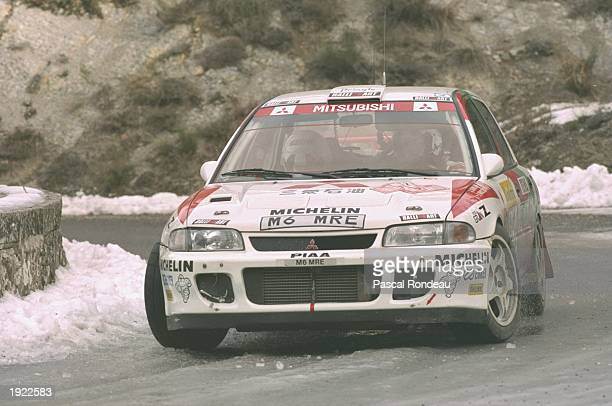 Jean Ragnotti and Gilles Thimonier of France in action in their Renault Clio Maxi during the Monte Carlo Rally in Monaco. Ragnotti and Thimonier...