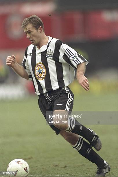 Alan Shearer of Newcastle in action during the FA cup third round tie between Charlton Athletic and Newcastle United at the Valley in London The...