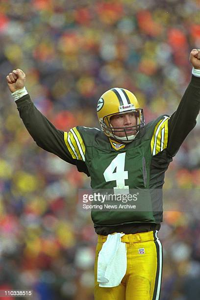 Brett Favre of the Green Bay Packers during the Pack's 3013 victory over the Carolina Panthers in the NFC Championship Game at Lambeau Field in Green...