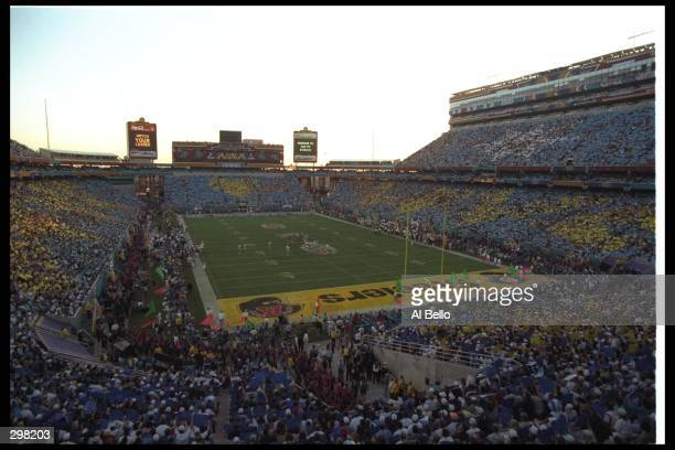 General view of stadium during Super Bowl XXX between the Dallas Cowboys and Pittsburgh Steelers at Sun Devil Stadium in Tempe Arizona The Cowboys...
