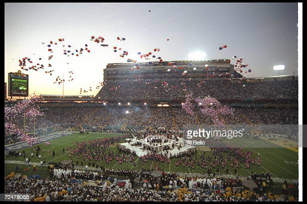 General view of the halftime show for Super Bowl XXX between the Dallas Cowboys and the Pittsburgh Steelers at Sun Devil Stadium in Tempe Arizona The...