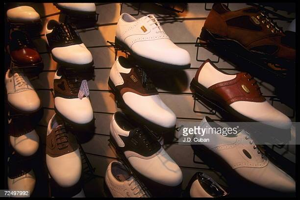 Golf Shoes are on display at a PGA merchandising show in Orlando Florida Mandatory Credit Jon Cuban/Allsport