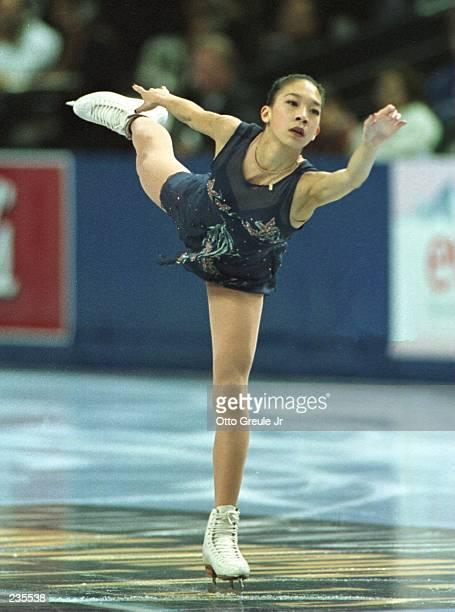 Karen Kwan of Torrance California performs in the Ladies Short Program at the US Figure Skating Championships at San Jose Arena in San Jose...