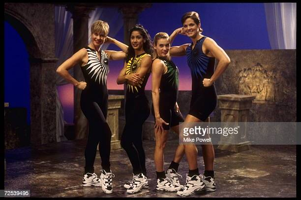 Models pose for a Reebok Aerobic Fitness Video on a classical indoor set Mandatory Credit Mike Powell/Allsport