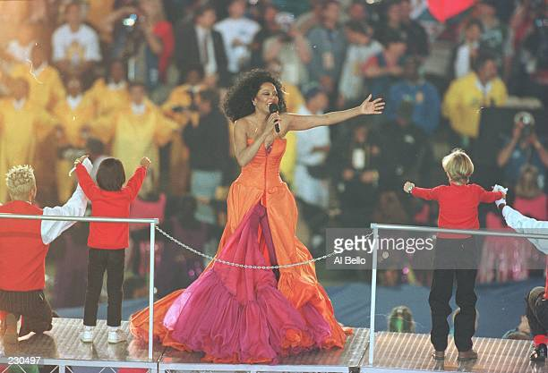 Pop artist Diana Ross performs on-stage during half-time of the Dallas Cowboys game versus the Pittsburgh Steelers in Super Bowl XXX at Sun Devil...