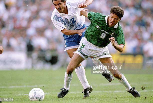 Ricardo Pelaez of Mexico and Eduardo Acevedo of Guatemala fight for the ball during a Gold Cup game in San Diego California Mexico won the game 10...