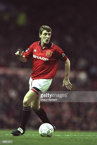Steve Bruce of Manchester United in action during an FA Carling Premiership match against Aston Villa at Old Trafford in Manchester England The match...