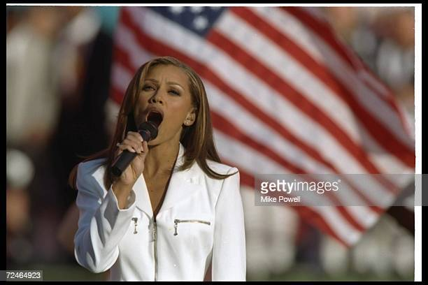 Vanessa Williams sings the National Anthem for Super Bowl XXX between the Dallas Cowboys and the Pittsburgh Steelers at Sun Devil Stadium in Tempe...