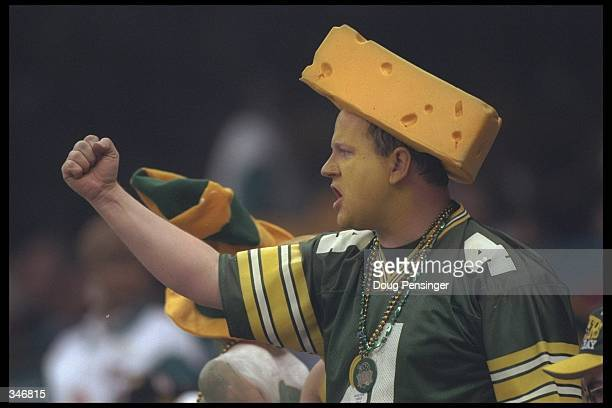 A Cheesehead Green Bay Packers fan cheers his team on during the Green Bay Packers versus the New England Patriots in Super Bowl XXXI at the...