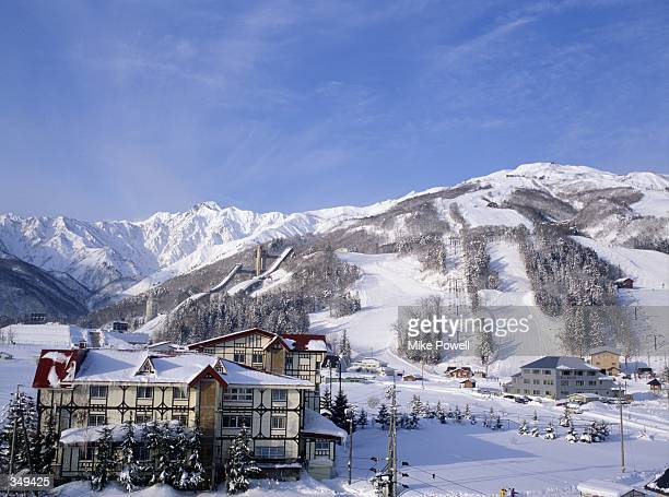 A general view overlooking the two ski jump hills and the downhill skiing course of Happo One in Hakuba Japan the site of the 1998 Winter Olympics in...