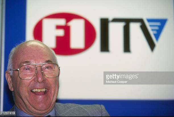 A portrait of motor racing commentator Murray Walker taken during the ITV Formula One press launch in London Mandatory Credit Mike Cooper /Allsport