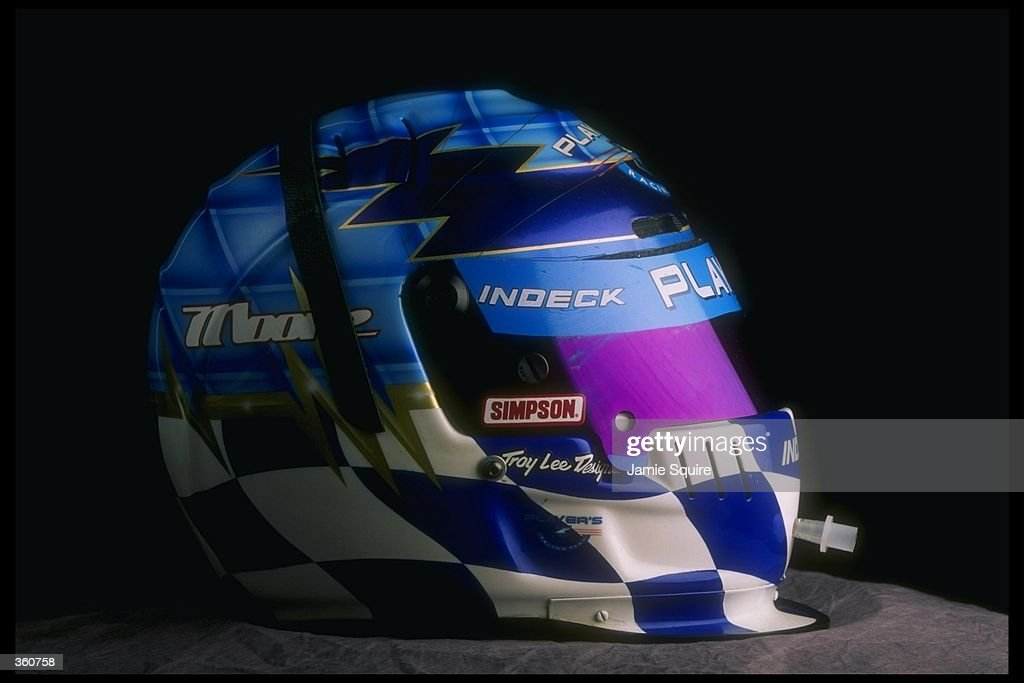 A studio portrait of the helmet of CART driver Greg Moore of Canada, driving for team Forsythe Racing, taken during spring testing at the Homestead Motorsports Complex in Homestead, Florida.