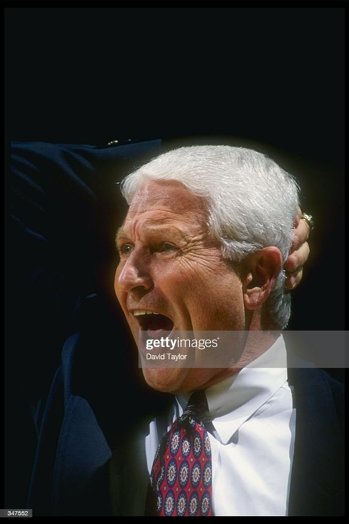 Arizona Wildcats head coach Lute Olson yells during a game against the UCLA Bruins at Pauley Pavilion in Los Angeles, California. UCLA won the game, 84-78.