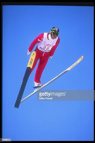 Bard Jorgen Elden of Norway performs during a World Cup Nordic Combined event in Habuka, Japan. Mandatory Credit: Mike Powell /Allsport