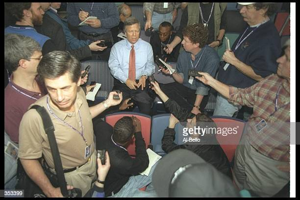 Bob Kraft gets interviewed during Media Day for Super Bowl XXXI between the New England Patriots and the Green Bay Packers at the Superdome in New...