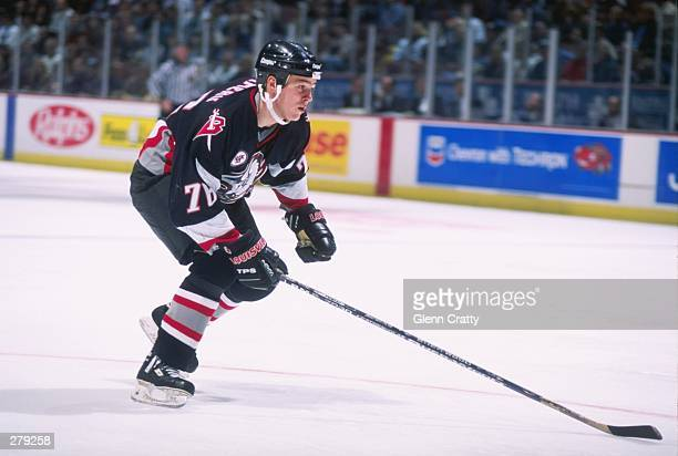 Center Wayne Primeau of the Buffalo Sabres moves down the ice during a game against the Anaheim Mighty Ducks at Arrowhead Pond in Anaheim California...