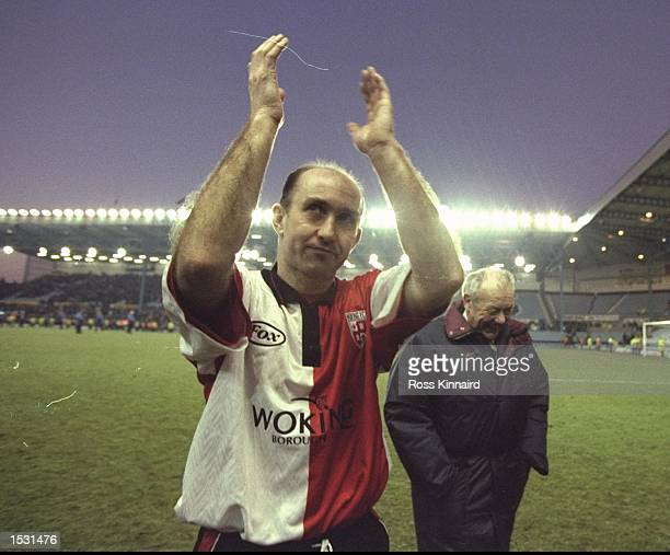 Clive Walker of Woking acknowledges the crowd after the FA cup fourth round tie betweem Coventry city and Woking at the City ground in Coventry The...