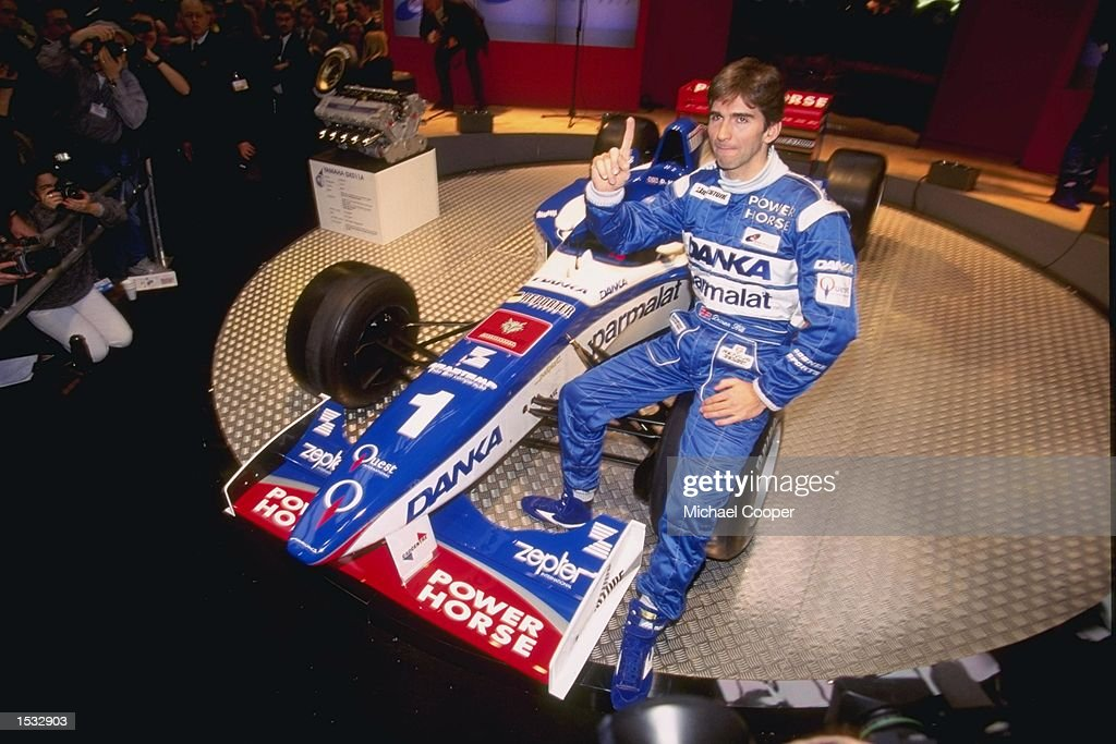 Damon Hill of Great Britain sits in the new car : News Photo