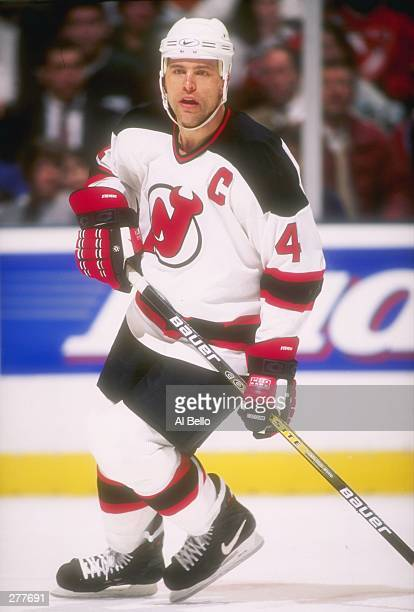 Defenseman Scott Stevens of the New Jersey Devils moves down the ice during  a game against 034660cef